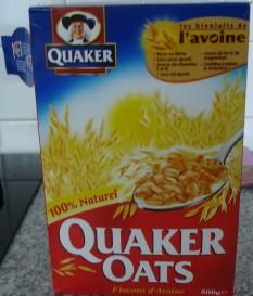 quaker oasts flocons d 39 avoine 100g calories 368 kcal protides 11 g lipides 8 g. Black Bedroom Furniture Sets. Home Design Ideas
