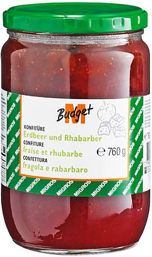confiture fraise et rhubarbe migros budget m budget 100g calories 244 kcal protides 0. Black Bedroom Furniture Sets. Home Design Ideas